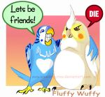 FluffyWuffy Budgie Cockatiel by macawnivore