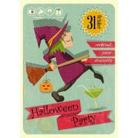 Vector Halloween Party witch retro template design by cgvector
