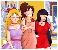 Senshi at the ball (screencap redraw) by ice-cream-skies