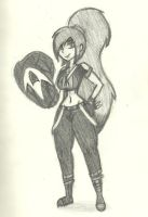 Paulinda Shedswood/Mete-Arms (Full-body Sketch) by AtomicKingBoo