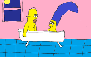 Homer and Marge Evening Bath by Simpsonsfanatic33