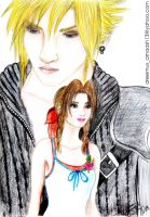Cloud Strife and Aerith by areemus