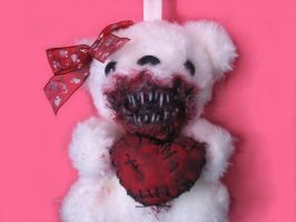 Scare Bear (valentine bloody mouth and heart) 3 by OddandOddesss