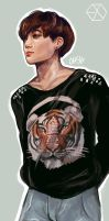 Jongin in a Tiger shirt by ohsh