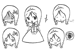 Chibi Princess Lineart by ice---tea