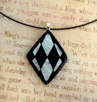 Harlequin Diamond Silver Fused Glass Pendant by FusedElegance