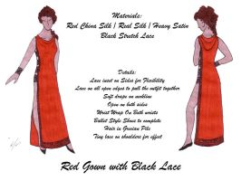 Red Gown with Black Lace by HasturCTS
