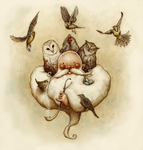 Two Owls and a Hen, four Larks and a Wren. by Pandora-intheSKY