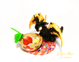 Goldwing dragon with basket of fruits by rosepeonie