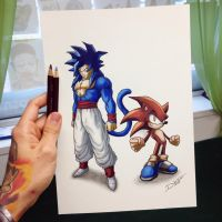 Goku / Sonic Color Swap Drawing by AtomiccircuS
