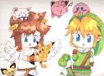Pit,Link and the smash bros cuties(+ a cat...) by 1Pikapi1