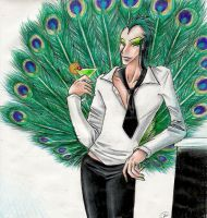 Peacock Boy at a party by Mistress-D