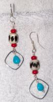 turquoise and bone earrings by artefaccio