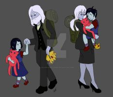 Simon and Marceline with Simone and Marshall Lee by HeavenSentTenshi