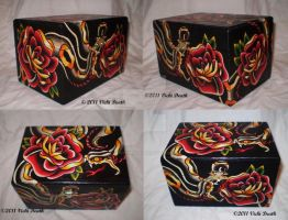 Snake and Roses Hand Painted Box by Vicki-Death