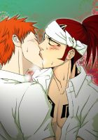 Bleach Ichigo Renji kiss by Chitanchitan