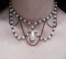 Pearls and chains choker by Crimson-rose-x