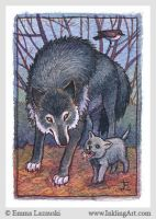 ACEO: Wolf with cub by emla