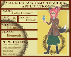 Colby Lesemen - Madeira Academy (NEW APP) by flamingmarshmallows