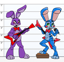 FNaF 2 - Bonnies 1 and 2 by Inkwell-Pony