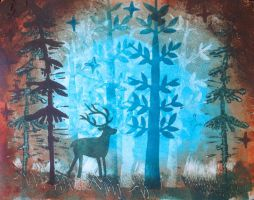 Deer MonoPrint by usartdude