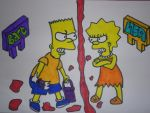 The Simpsons - Bart VS Lisa by Toad-x-Yoshi-x-Peach