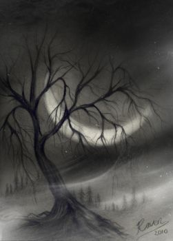 Tree in charcoal by wyldraven
