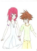 Kairi and Sora - by dudidudiwa