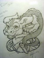 Chibi Falcor finished pencils by Bee-chan