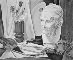Still life with Voltaire's plaster head by Ganusia