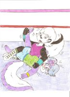 Hepzibah vs Fifi  - Wrestling by Jose-Ramiro