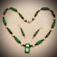 Viridian dichroic glass bead necklace by OohShinyJewelry