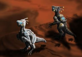 Oviraptors in Space Suits by MicrocosmicEcology