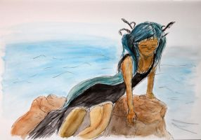 Watercolor from a Miku Cosplay by SpiderTech