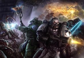 Warhammer 40k Book Cover Illustration by lnsan1ty