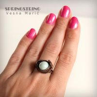 Wire wrapped copper ring - AROUND THE MOON by VesnaMaric