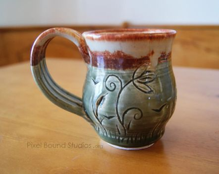 Wetlands Themed Green Ceramic Mug by pixelboundstudios
