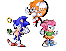 Sonic and Tails and Amy too by ClassicSonicSatAm