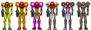 Samus Suit Variants by Kivwolf