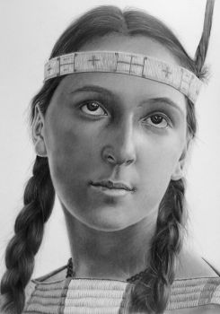 Pencil portrait of Lucille, a Dakota Indian by LateStarter63