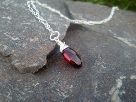 Sanguine Tears Garnet Silver Pendant by QuintessentialArts