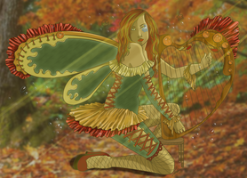 Autumn Harpist by whysp80
