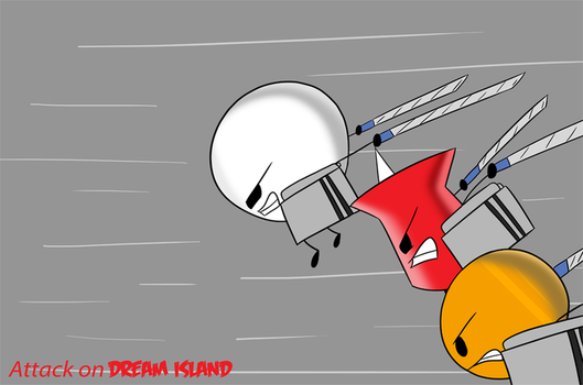 Attack On Dream Island- Pin, Snowball and Coiny by khushi1428