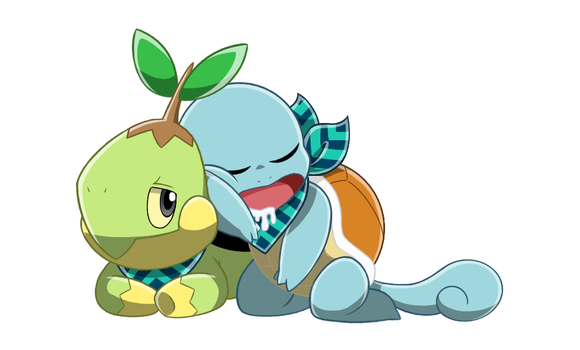Turtwig and Squirtle by starrynight32