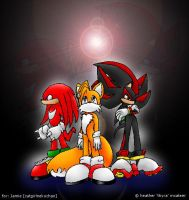 Knuckles - Tails - Shadow by thyrachan