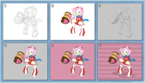 step by step 11 - Amy Rose by JacobMainland