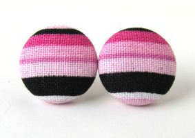 Pink black white button earrings studs by KooKooCraft