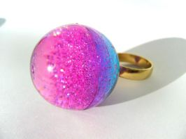 Galaxy in a Gobstopper ring by pinkminx