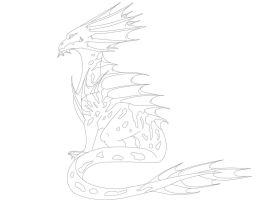 Sea dragon (name unknown) -LINEART- by Deathtail-The-DraCon