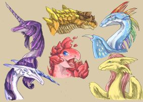 Mane 6 dragonified by Audrarius